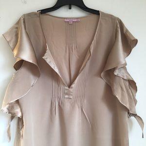 Calypso St Barth silk top ruffle tie sleeve blouse
